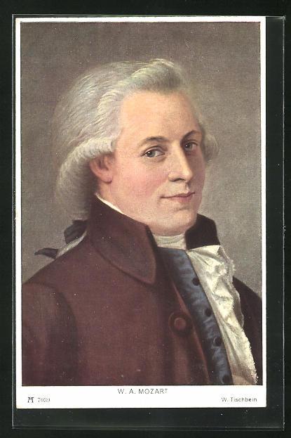 AK Komponist Wolfgang Amadeus Mozart, Halbportrait