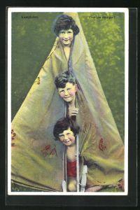 AK Kinder gucken aus dem Zelt, Camping
