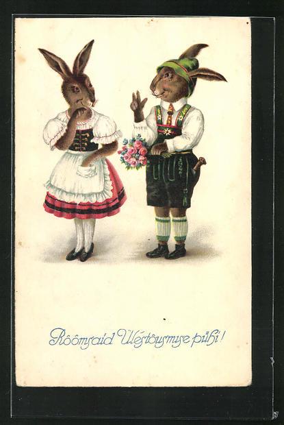 AK Osterhase in Lederhosen mit Blumenstrauss mit Häsin in Kleid