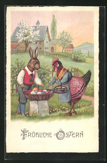 AK Osterhase verkauft Henne bemalte Eier, Tiere in Kleidung