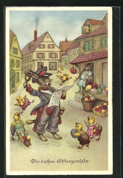 AK Hase in Uniform mit Glocke, Küken mit bunten Eier, Ostergrusskarte