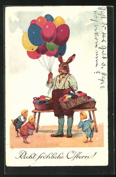 AK Osterhase verkauft Eier und Eierluftballons an Küken, Ostergrusskarte