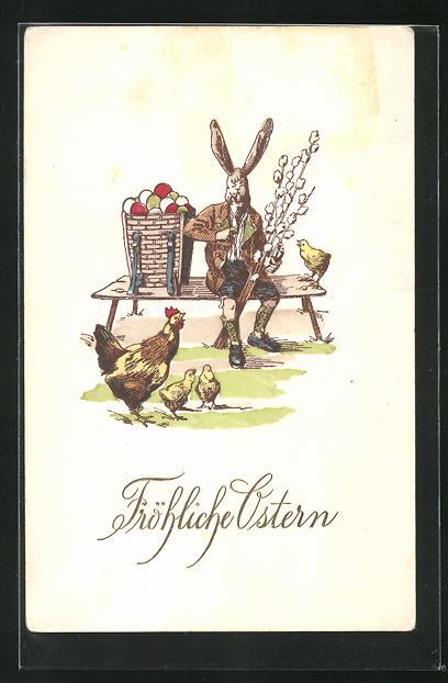 Präge-AK Osterhase sitzt auf Bank mit Ostereier im Korb vor Henne mit Küken