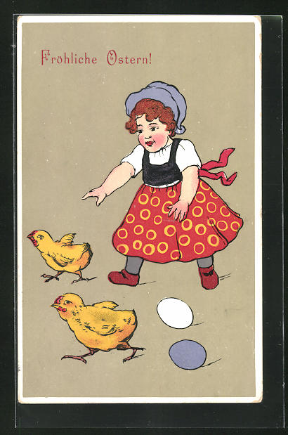 AK Mädchen jagt Küken, Ostergrusskarte