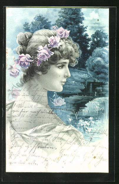 AK Jugendstil Frau mit Rosenkranz im Haar vor Wasserlandschaft