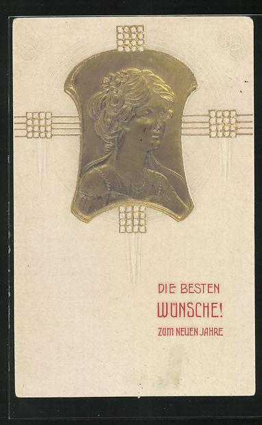 Präge-AK Frauenkopf des Jugendstil mit welligem Haar und Ketten, Neujahrskarte