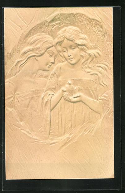 Relief-AK Zwei junge Jugendstil Frauen mit langen Haaren und Vogel in der Hand