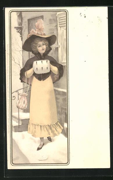 AK Jugendstil, Frau mit Muff und Hut vor Haus mit Schnee unter ihren Sandalen
