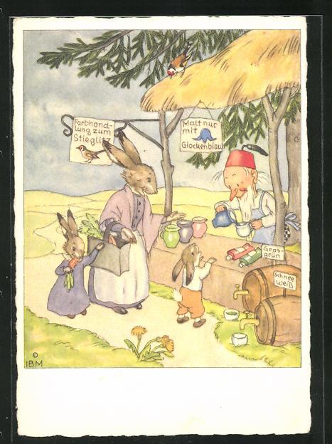 AK Hasen am Marktstand mit Zwerg