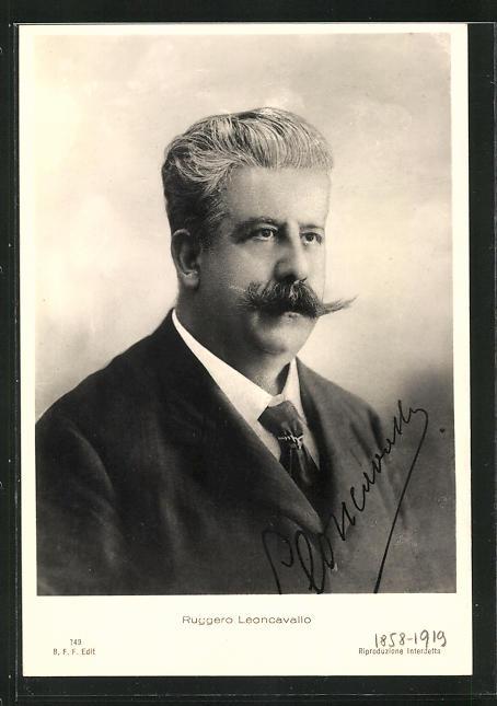 AK Portrait Ruggero Leoncavallo mit Schnauzbart im Anzug, 1858-1919
