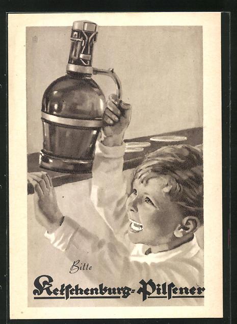 AK Brauerei-Werbung, Ketschenburg-Pilsener, Kleiner Junge mit Bierflasche in der Hand