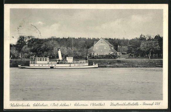 AK Schwerin / Skwierzyna, Gasthaus Waldschenke Schliebner, Dampfer auf dem Fluss