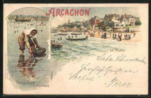 Lithographie Arcachon, La Plage, Parqueuse d`Huitres