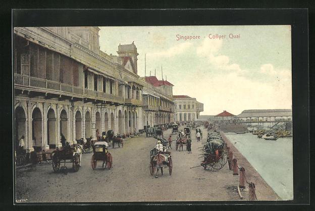 AK Singapore, Collyer Quai, prachtvolle Häuserfassade