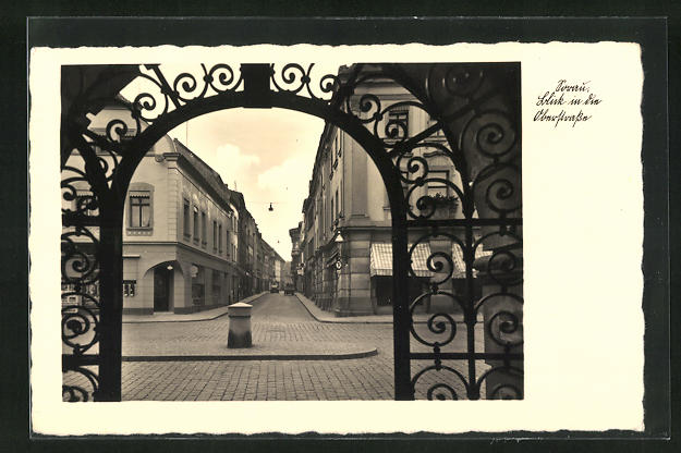 AK Sorau / Zary, Oberstrasse durch Tor gesehen