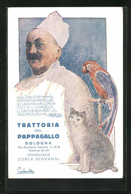 Künstler-AK Bologna, Restaurant Trattoria del Pappagallo, Via Pescherie Vecchie 10 B