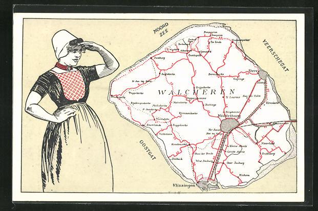 AK Walcheren, Landkarte mit Middelburg, Vlissingen, Biggekerke, Frau hält Ausschau