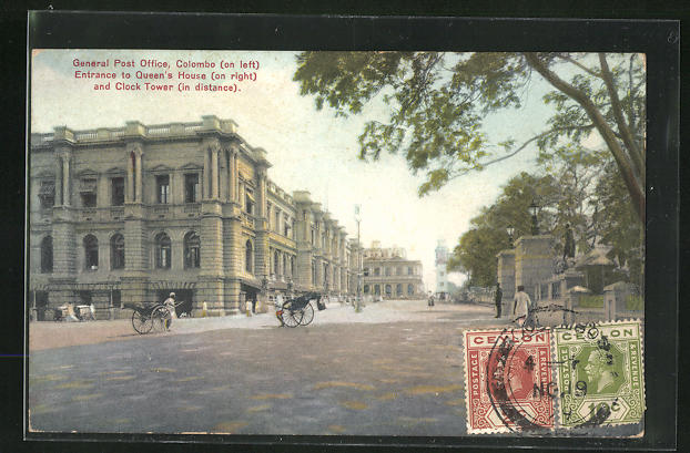 AK Colombo, General Post Office, Entrance to Queen`s House on right and Clock Tower in distance