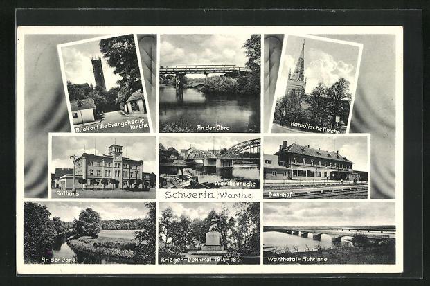 AK Schwerin, Bahnhof, Rathaus, An der Obra
