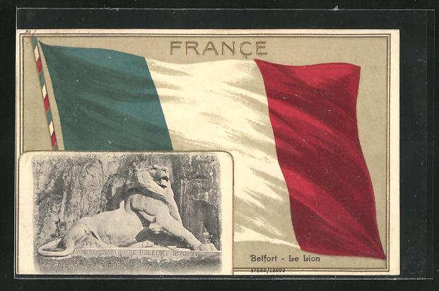 Präge-AK Belfort, Le Lion mit Passepartoutrahmen Flagge