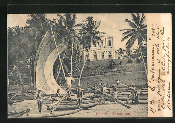 AK Colombo, Colamaran, Anwohner am Segelboot