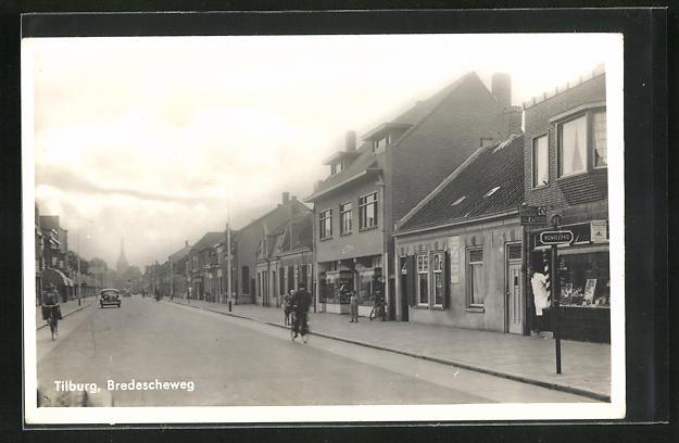 AK Tilburg, Bredascheweg mit Radfahrer