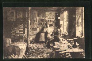 AK Nismes, Interieur d'une fabrique de sabots