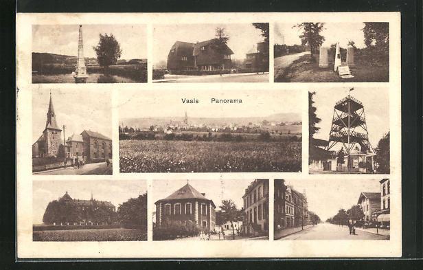 AK Vaals, Panoramablick, Kirche, Aussichtsturm, Strassenansichten, Denkmal