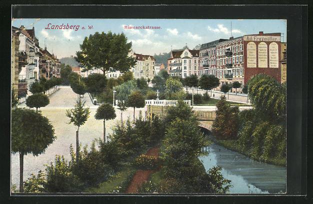 AK Landsberg / Gorzow Wlkp, Bismarckstrasse mit Flussbrücke
