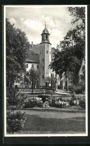 AK Burkersdorf i. Sa., NSV.-Mütter-Erholungsheim Schloss Burkersdorf vom Garten her