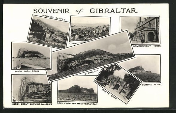 AK Gibraltar, Moorish Castle, Town, Government House, Rock from Spain, South Gate