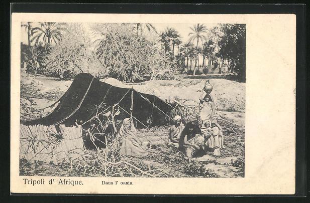 AK Tripoli, Dans l`oasis, Familie vor einem Zelt