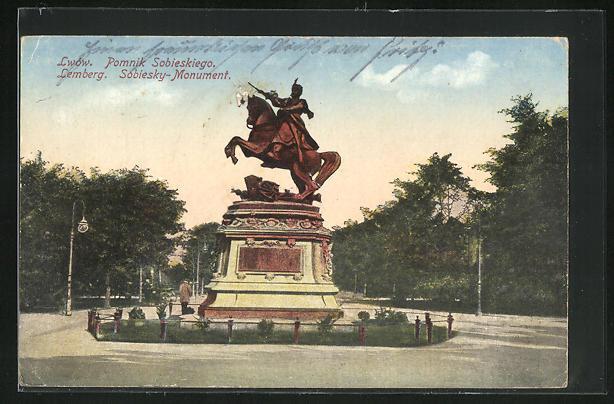 AK Lemberg / Lwow, Sobiesky-Monument, Pomnik Sobieskiogo
