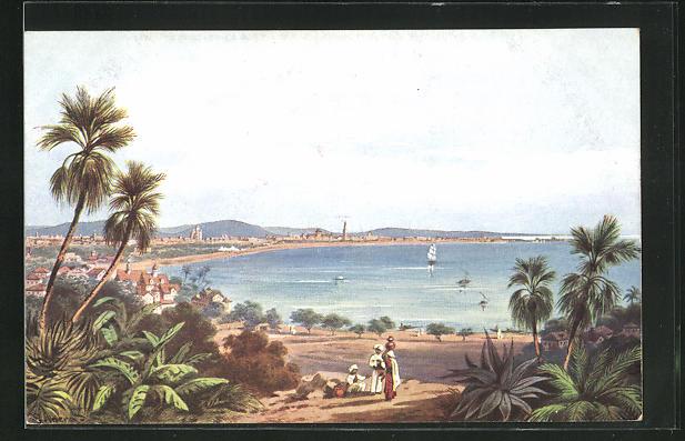 Künstler-AK Bombay, Panoramablick mit Strand