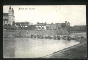 AK Wilna, Panoramablick vom Flussufer