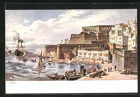 Künstler-AK Malta, Ortspartie am Ufer, Dampfer und Segelboote