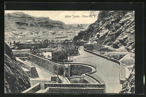AK Aden, Panorama mit Water Tanks