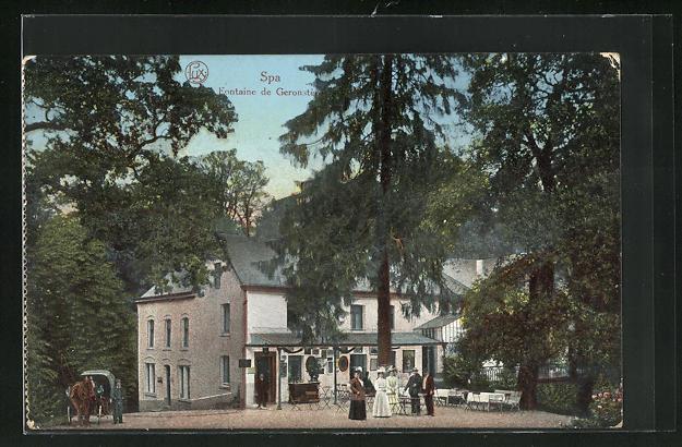 AK Spa, Fontaine, Gasthaus mit Garten