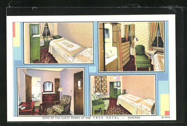 AK Chicago, IL, YMCA Hotel, 826 South Wabash Avenue, Guest Rooms