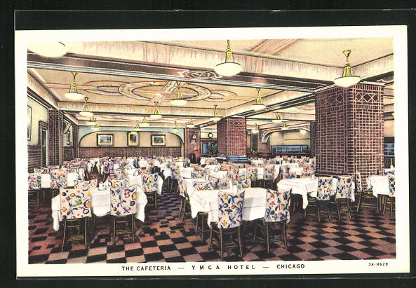 AK Chicago, IL, YMCA Hotel, 826 South Wabash Avenue, the Cafeteria