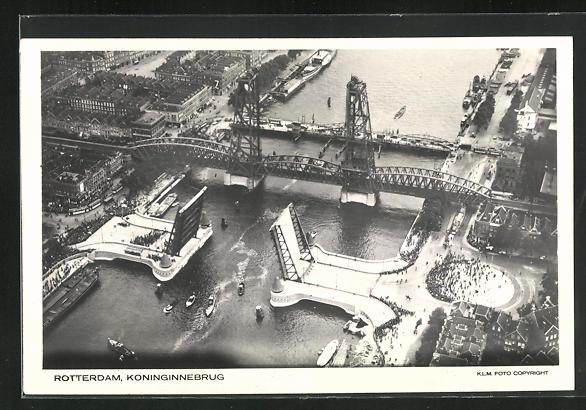 AK Rotterdam, Koninginnebrug, Brücke vom Flugzeug aus