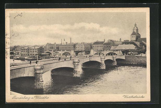 AK Landsberg / Gorzow Wlkp, Teilansicht mit Warthebrücke