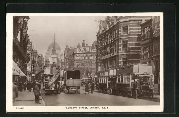AK London, Traffic at Ludgate Circus