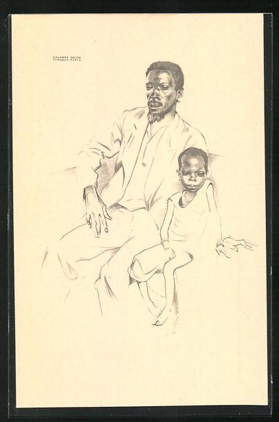 Künstler-AK Angola, Calungeia et sa fille Sagala, Einheimischer mit seinem Kind