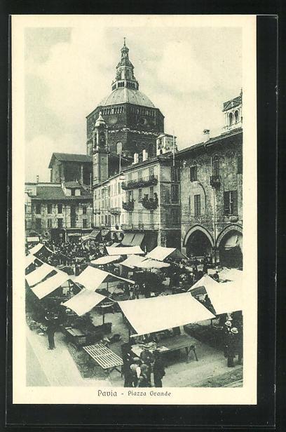 AK Pavia, Piazza Grande, Marktplatz mit Ständen