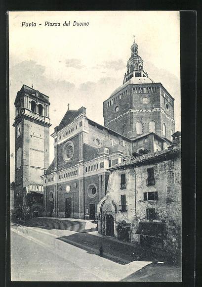 AK Pavia, Piazza del Duomo, Platzansicht mit Dom