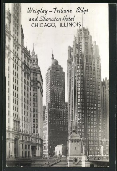 AK Chicago, IL, Wrigle-Tribune Bldgs. and Sheraton Hotel