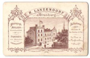 Fotografie R. Lanzendorf, Altenburg, rückseitige Ansicht Altenburg, Atelier Bernhardstr. 5, vorderseitig Portrait Dame
