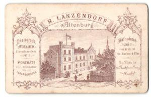 Fotografie R. Lanzendorf, Altenburg, rückseitige Ansicht Altenburg, Atelier Bernhardstr. 5, vorderseitig Portrait Herr