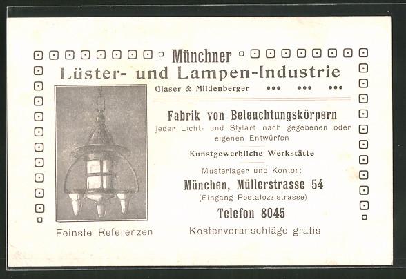 Vertreterkarte München, Lüster- und Lampen-Industrie Glaser & Mildenberger, Müllerstrasse 54, Lampe